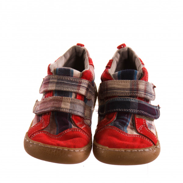 LIVIE & LUCA RED MULTI-COLOR PLAID SHOES *SIZE 9, VGU - MINOR SCUFFING AND DISCOLORATION