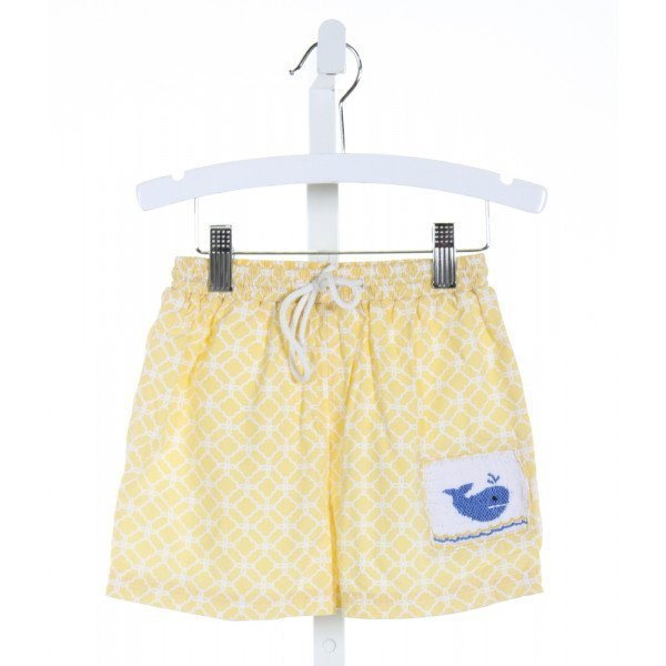 ROYAL CHILD  YELLOW  PRINT SMOCKED SWIM TRUNKS