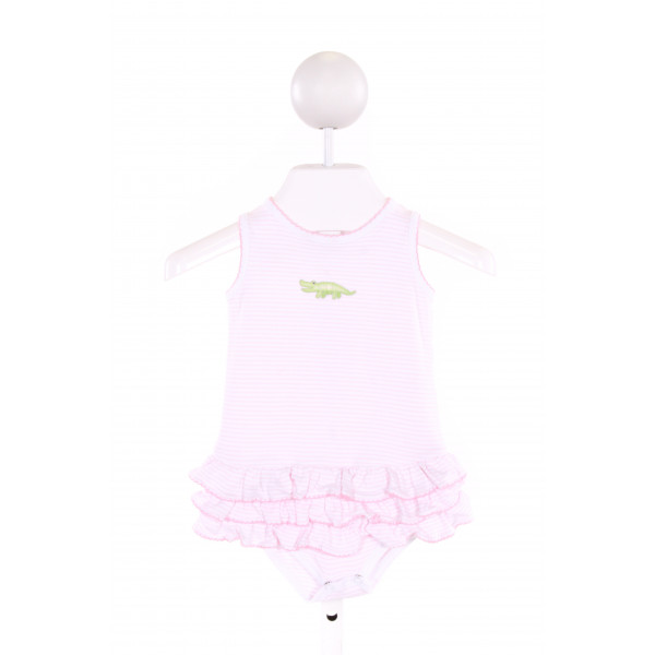 MAGNOLIA BABY  LT PINK  STRIPED EMBROIDERED BUBBLE WITH PICOT STITCHING