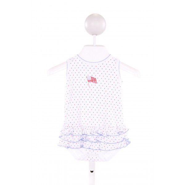 MAGNOLIA BABY  MULTI-COLOR  POLKA DOT EMBROIDERED BUBBLE WITH RUFFLE