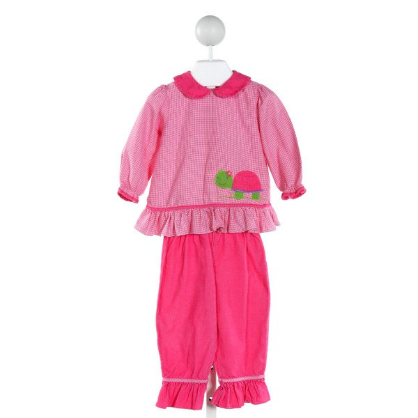 ZU  HOT PINK  HOUNDSTOOTH EMBROIDERED 2-PIECE OUTFIT WITH RUFFLE