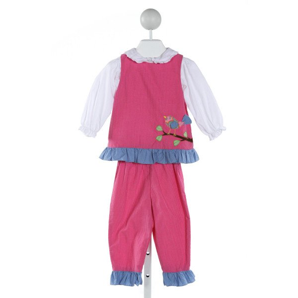 PETIT AMI  HOT PINK  GINGHAM EMBROIDERED 2-PIECE OUTFIT WITH RUFFLE