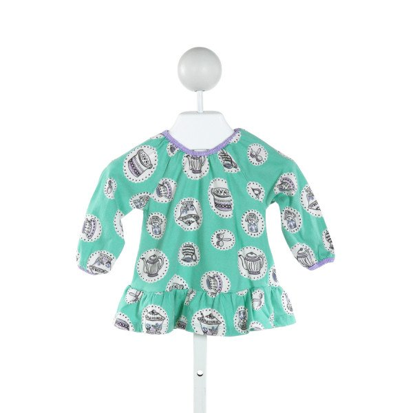 BABY BODEN  GREEN   PRINTED DESIGN KNIT LS SHIRT WITH RUFFLE