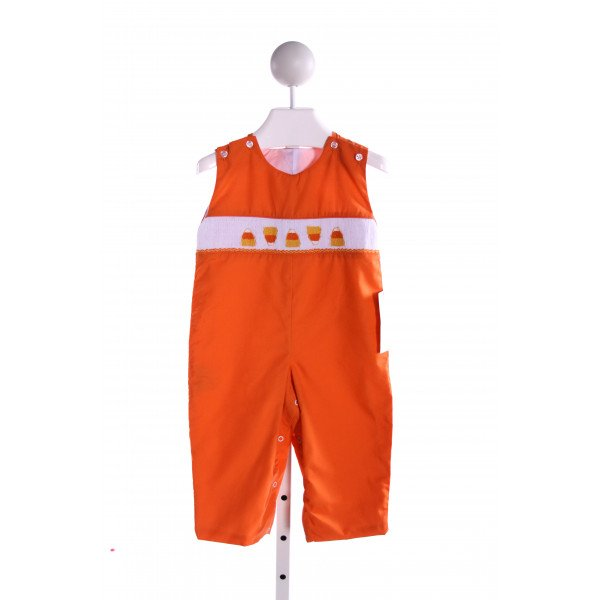SMOCKADOT KIDS  ORANGE   SMOCKED LONGALL/ROMPER