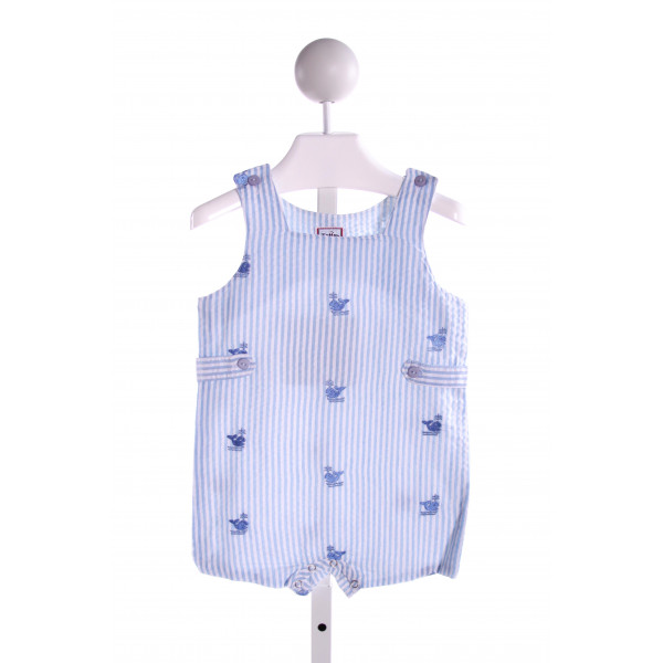 COTTON KIDS  LT BLUE SEERSUCKER STRIPED EMBROIDERED JOHN JOHN/ SHORTALL