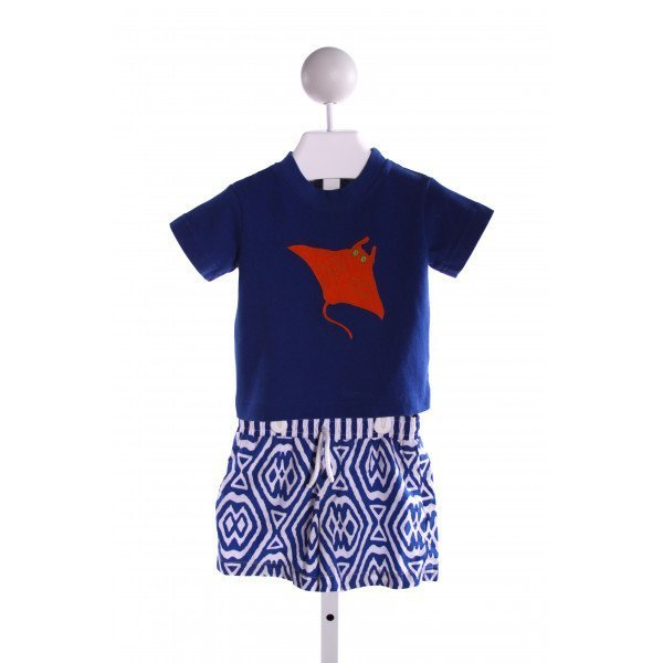 KELLY'S KIDS  BLUE  PRINT EMBROIDERED 2-PIECE OUTFIT