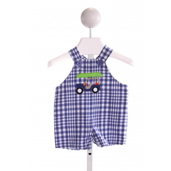 KELLY'S KIDS  ROYAL BLUE  PLAID EMBROIDERED JOHN JOHN/ SHORTALL