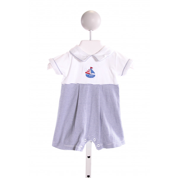HUG ME FIRST  MULTI-COLOR  STRIPED EMBROIDERED KNIT SHORTALL