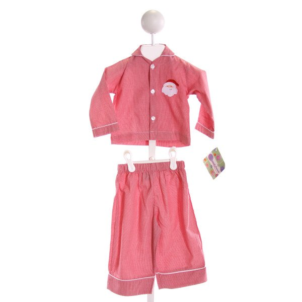 CANDYLAND  RED  MICROCHECK EMBROIDERED 2-PIECE OUTFIT
