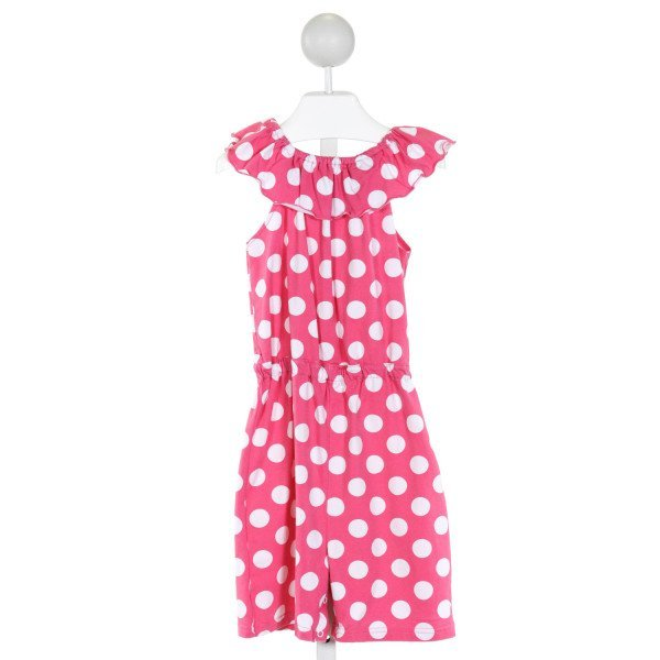 BAREFOOT   HOT PINK  POLKA DOT  KNIT ROMPER WITH RUFFLE