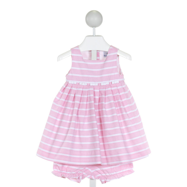 FLORENCE EISEMAN  PINK  STRIPED  2-PIECE OUTFIT WITH RUFFLE
