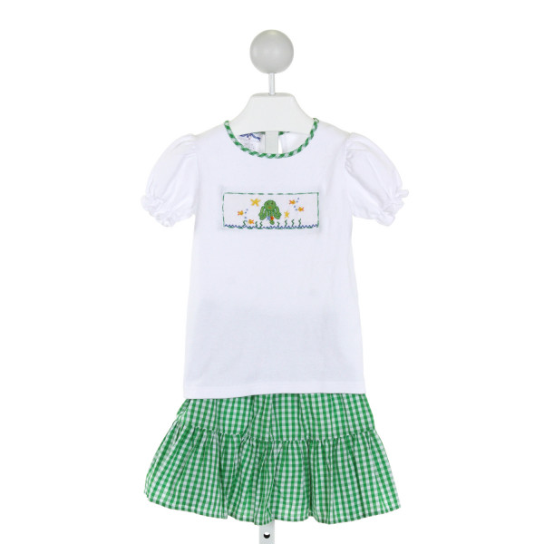 SILLY GOOSE  WHITE   SMOCKED 2-PIECE OUTFIT WITH RUFFLE