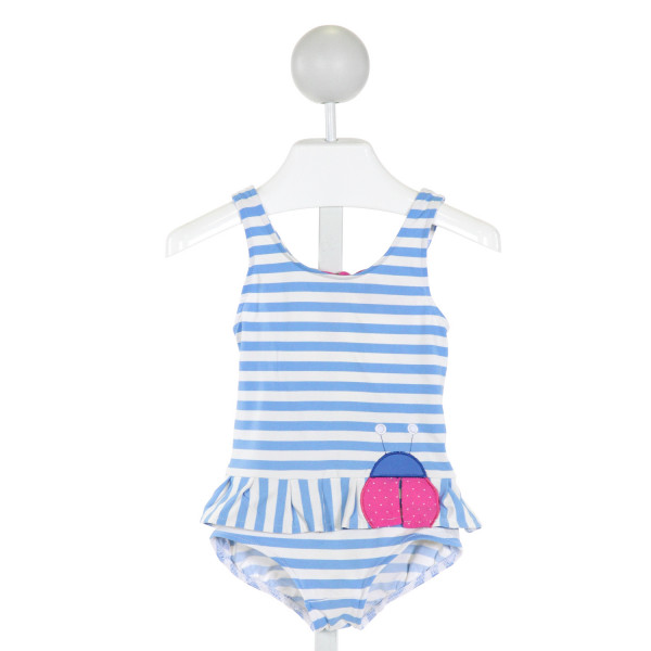 FLORENCE EISEMAN  LT BLUE   EMBROIDERED 1-PIECE SWIMSUIT WITH RUFFLE