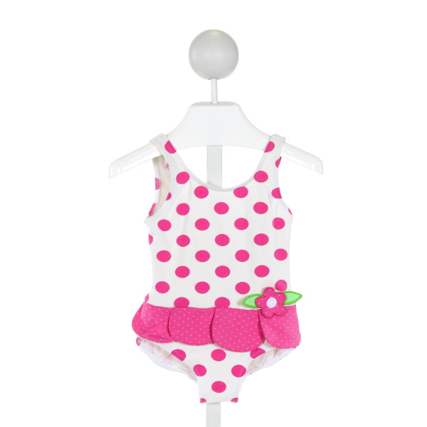 FLORENCE EISEMAN  IVORY  POLKA DOT APPLIQUED 1-PIECE SWIMSUIT WITH RUFFLE