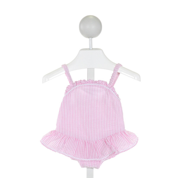 BAILEY BOYS  LT PINK SEERSUCKER STRIPED  1-PIECE SWIMSUIT WITH RUFFLE