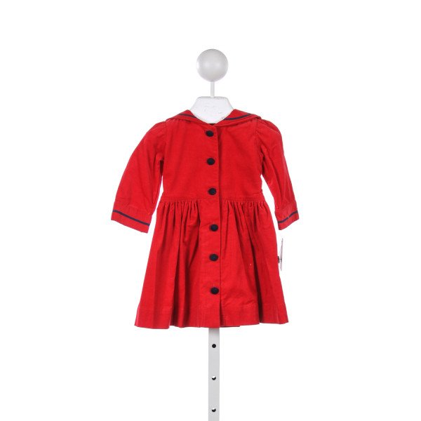 KATIE & COMPANY RED CORD SAILOR DRESS WITH NAVY TRIM