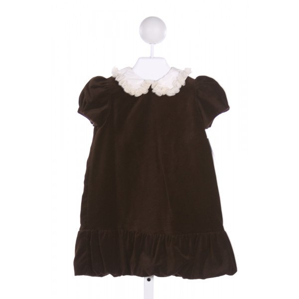 LULI & ME  BROWN   APPLIQUED PARTY DRESS WITH RUFFLE