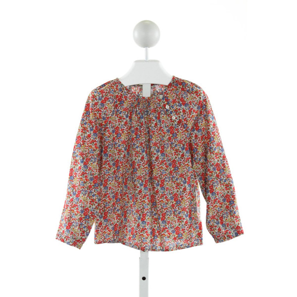 BONPOINT  RED  FLORAL  CLOTH LS SHIRT