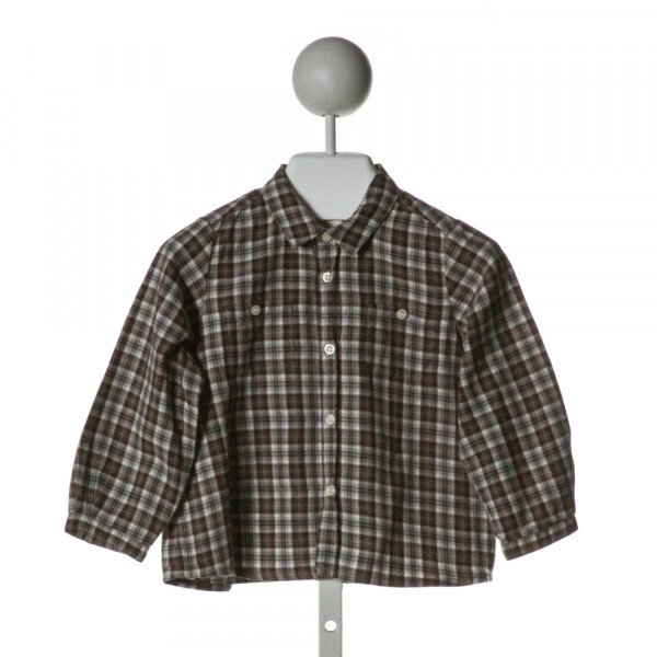 BONPOINT  BROWN  PLAID  CLOTH LS SHIRT