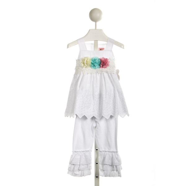 PURRFECT WHITE EYELET DRESS WITH FLOWERS AND BLOOMERS