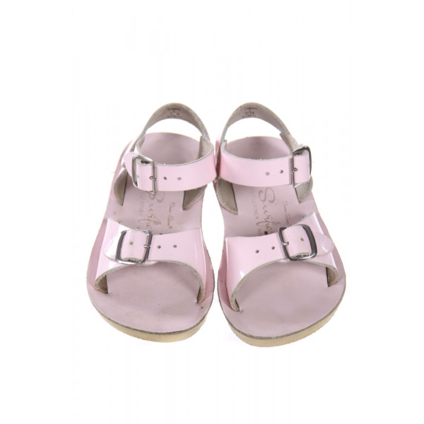 PINK SUN SANS/ SALTWATER SANDALS *SIZE 7, VGU - SOLE SLIGHTLY DISCOLORED FROM WEAR