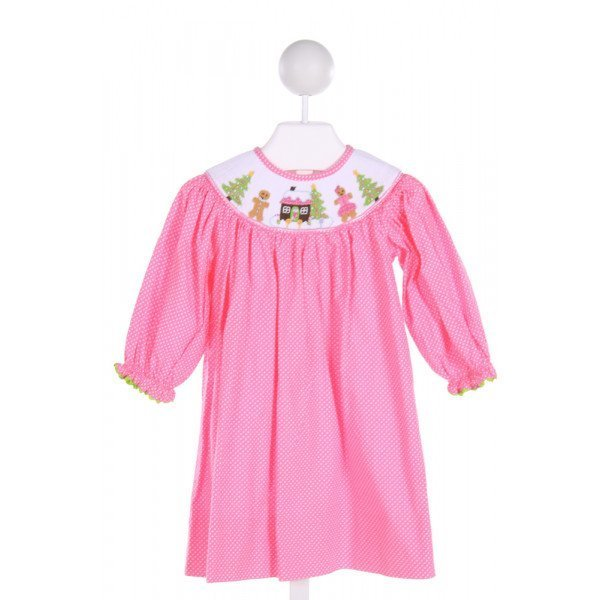DELANEY  PINK  POLKA DOT SMOCKED DRESS WITH RUFFLE