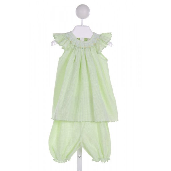 SOPHIE DESS  LT GREEN SEERSUCKER STRIPED SMOCKED 2-PIECE OUTFIT WITH RUFFLE