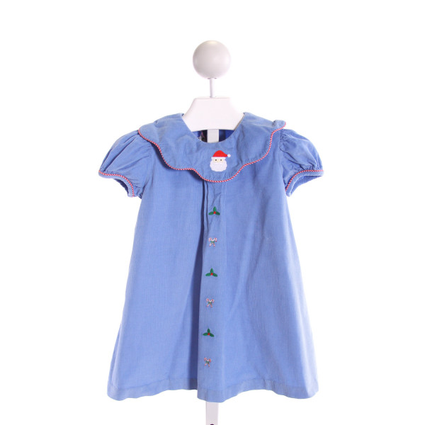 ZUCCINI  BLUE CORDUROY  EMBROIDERED DRESS