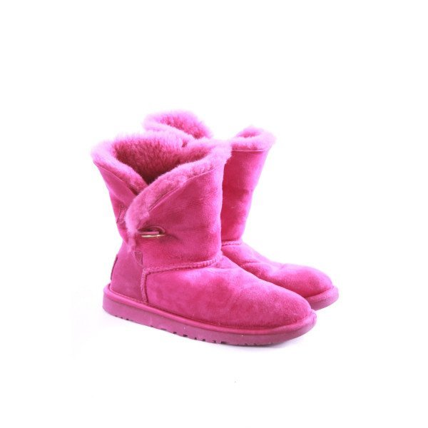 UGG FUSCHIA SUEDE BOOTS WITH GOLD JEWELED BUTTONS *VGUC (LIGHT WEAR) (NO SIZE TAG, BUT RUNS LIKE A CHILD 5)