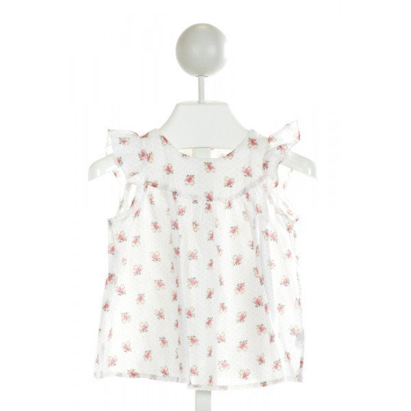 BONPOINT  OFF-WHITE  POLKA DOT PRINTED DESIGN CLOTH SS SHIRT WITH RUFFLE