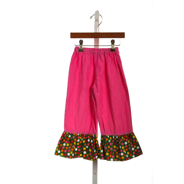 CLAIRE & CHARLIE HOT PINK CORD PANTS WITH POLKA DOT RUFFLES