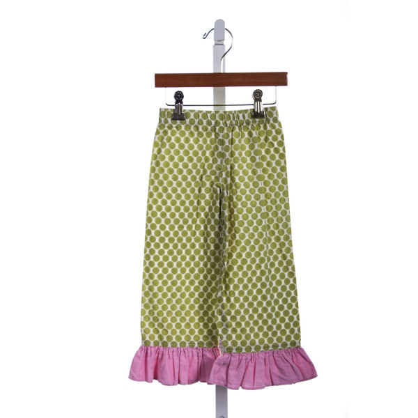 HANNAH KATE GREEN POLKA DOT PANTS WITH PINK CORD RUFFLE