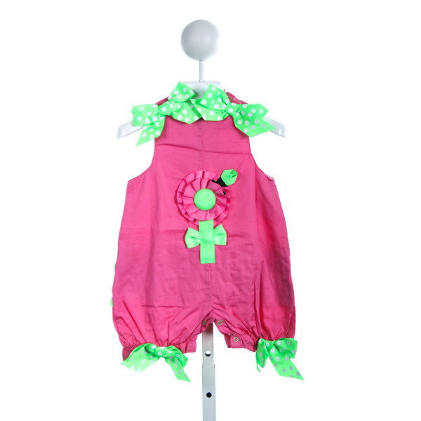 MUD PIE PINK ROMPER WITH PINK AND GREEN FLOWER *SIZE 0-6M