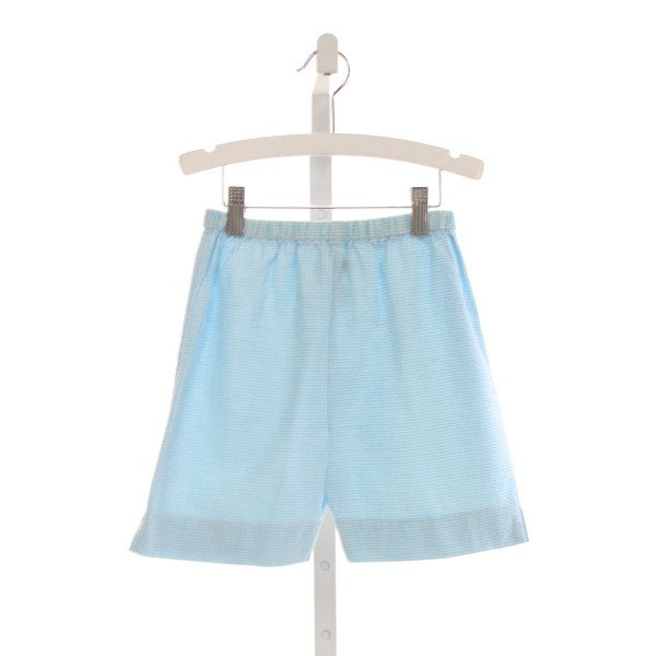 ORIENT EXPRESSED  AQUA SEERSUCKER GINGHAM  SHORTS