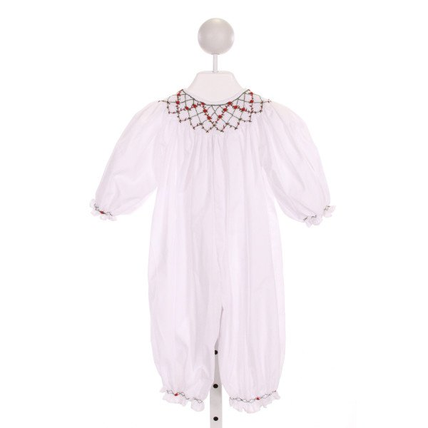 ROYAL CHILD  WHITE   SMOCKED ROMPER WITH RUFFLE