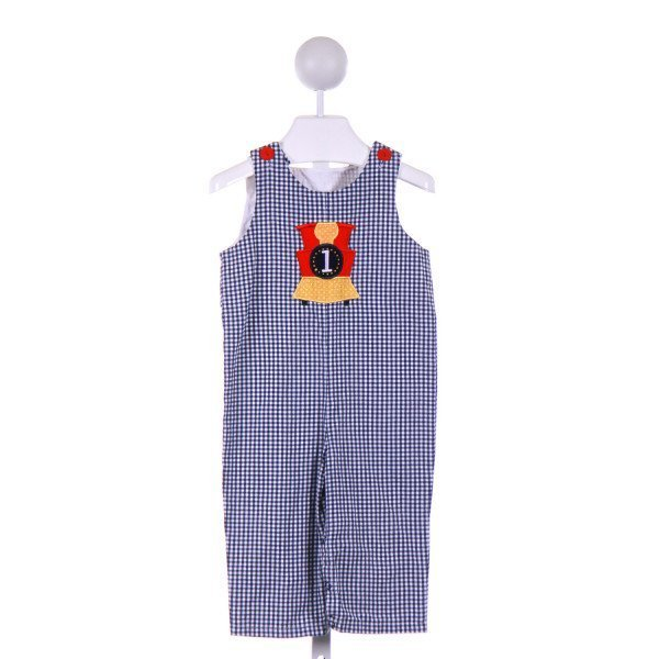 JUST DUCKY  NAVY  GINGHAM APPLIQUED LONGALL/ROMPER