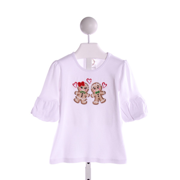 BLANKS BOUTIQUE  WHITE   EMBROIDERED KNIT LS SHIRT WITH RUFFLE