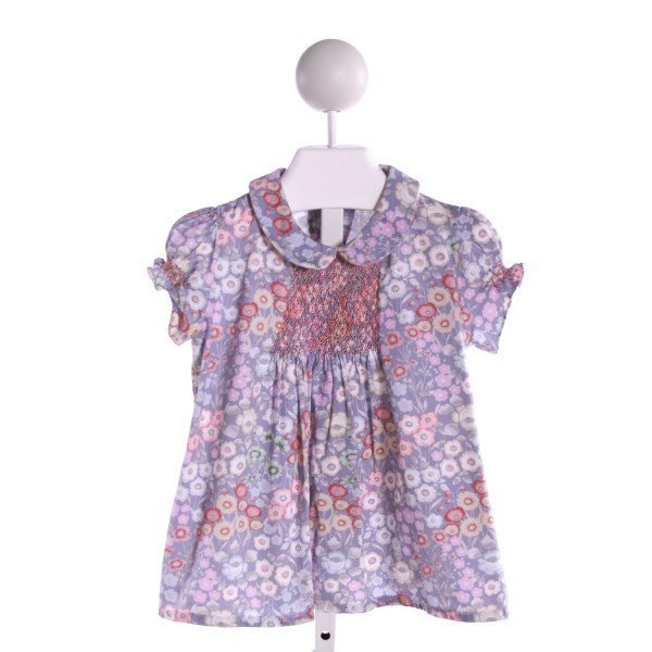 DONDOLO  MULTI-COLOR  FLORAL SMOCKED CLOTH SS SHIRT WITH RUFFLE