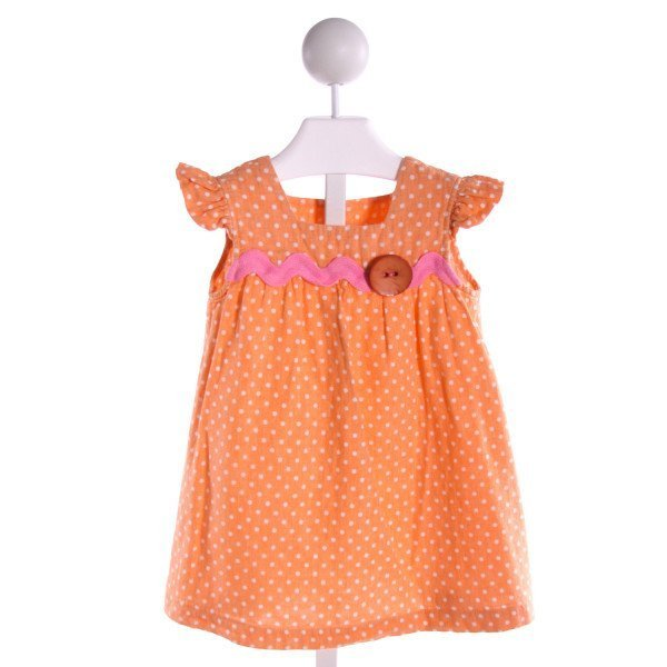 HANNAH KATE  ORANGE  POLKA DOT SMOCKED DRESS WITH RUFFLE