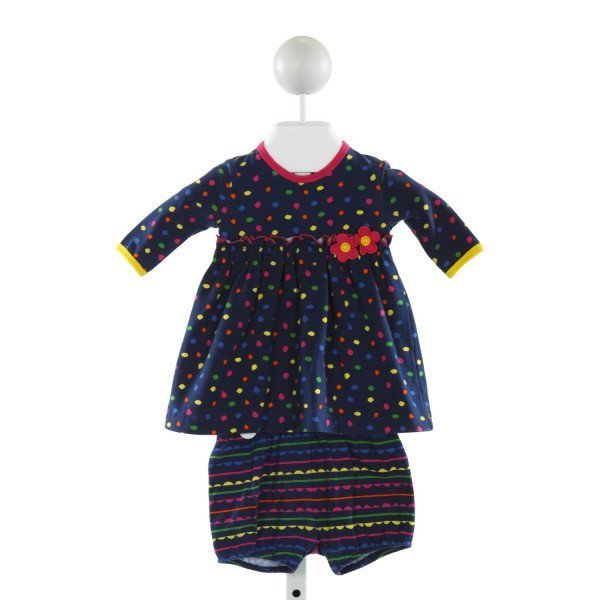 FLORENCE EISEMAN  BLUE  POLKA DOT APPLIQUED 2-PIECE OUTFIT WITH RUFFLE