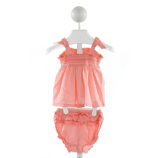 JANIE AND JACK  PINK   SMOCKED 2-PIECE OUTFIT WITH RUFFLE