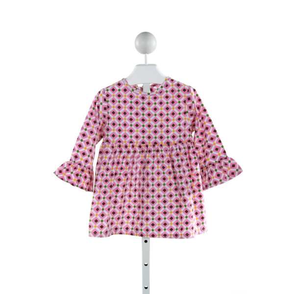 KELLY'S KIDS  PINK   PRINTED DESIGN CLOTH LS SHIRT WITH RUFFLE