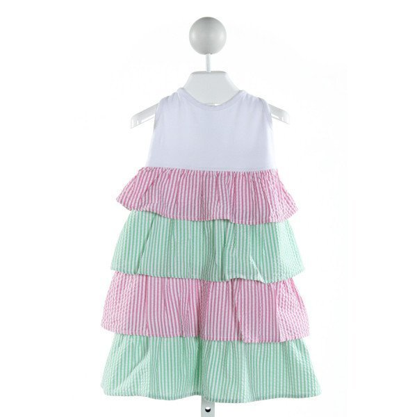 KELLY'S KIDS  WHITE SEERSUCKER STRIPED  DRESS WITH RUFFLE