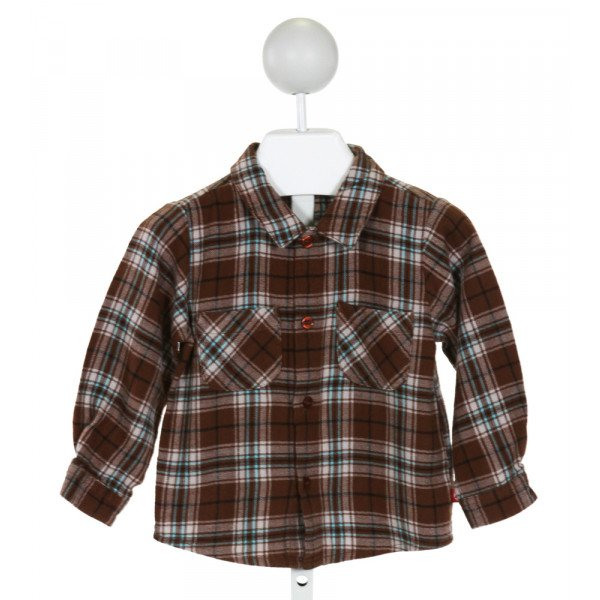ZUTANO  BROWN  PLAID  CLOTH LS SHIRT