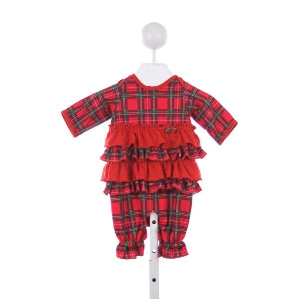 LAURA DARE RED PLAID FLANNEL SLEEPER WITH RUFFLE TRIM
