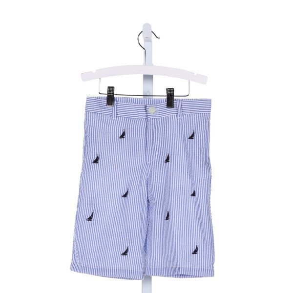 E-LAND  BLUE SEERSUCKER STRIPED EMBROIDERED SHORTS