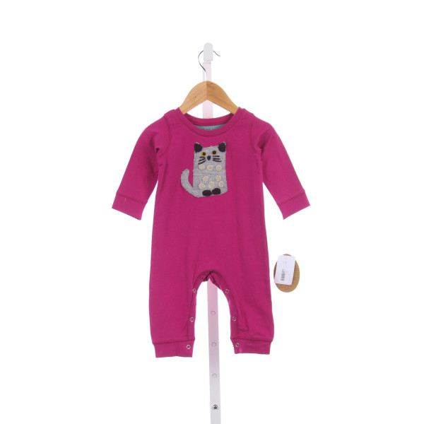 RED EGG & GINGER BY MIMI & MAGGIE FUSCHIA KNIT ROMPER WITH KITTY APPLIQUE *SIZE 3-6M