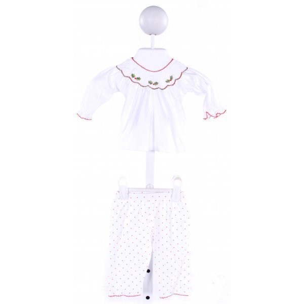 MAGNOLIA BABY  WHITE  POLKA DOT SMOCKED 2-PIECE OUTFIT WITH PICOT STITCHING