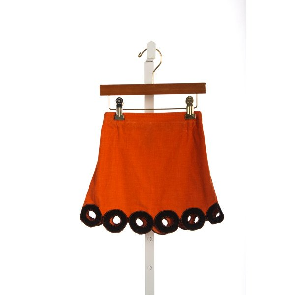 BELLA BLISS ORANGE CORD SKIRT WITH BROWN CORD CIRCLES *SLIGHT IMPERFECTION (LIGHT WEAR)