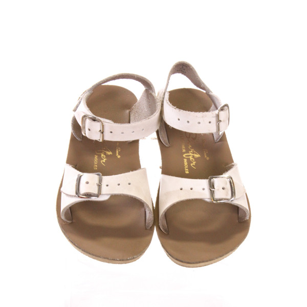 WHITE AND KHAKI SUN SANS/ SALTWATER SANDALS *SIZE 6, VGU - MINOR DISCOLORATION